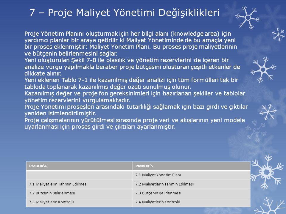 7 – Proje Maliyet Yönetimi Değişiklikleri