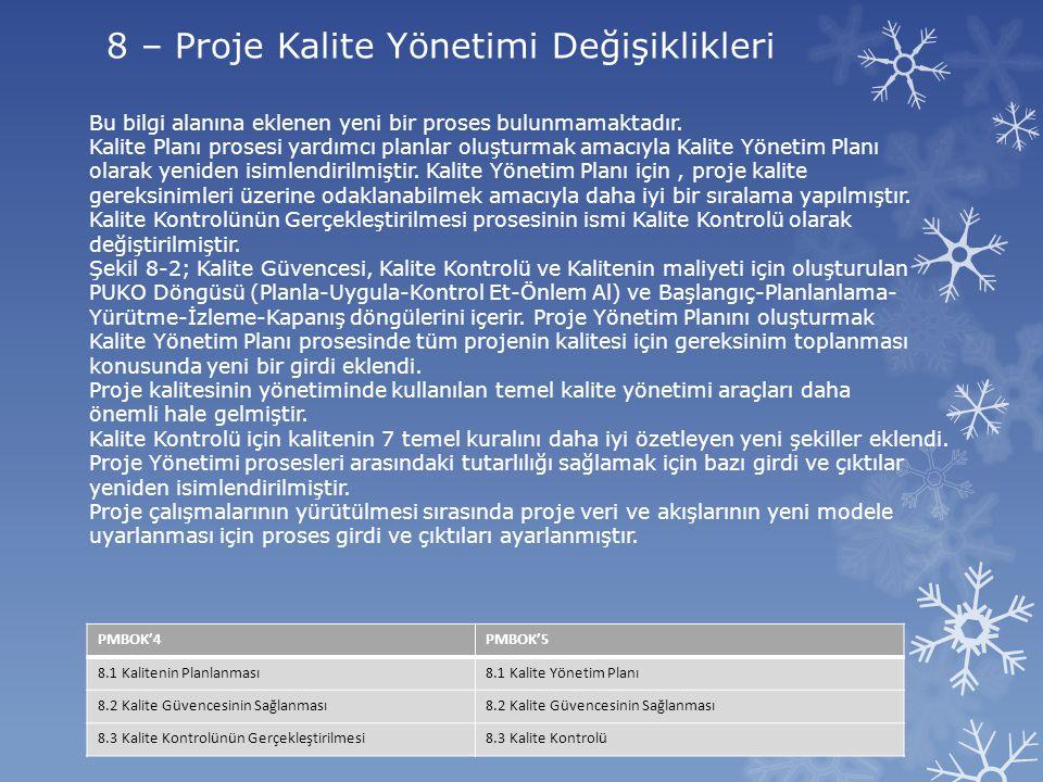 8 – Proje Kalite Yönetimi Değişiklikleri