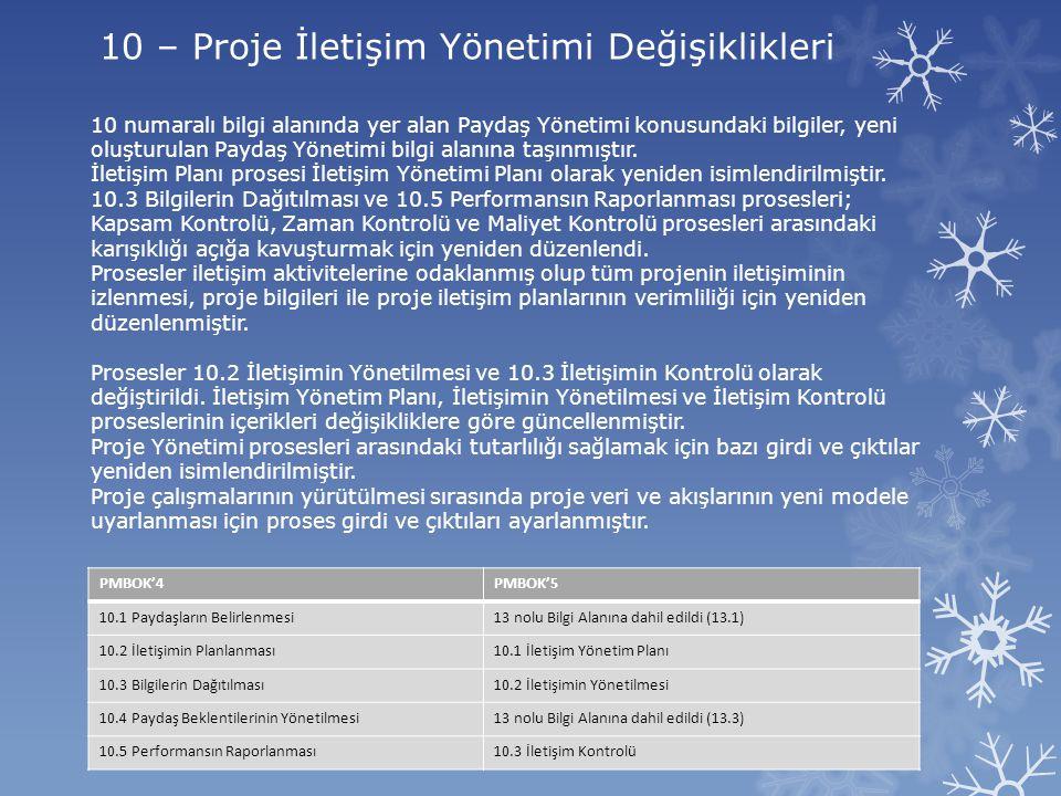 10 – Proje İletişim Yönetimi Değişiklikleri