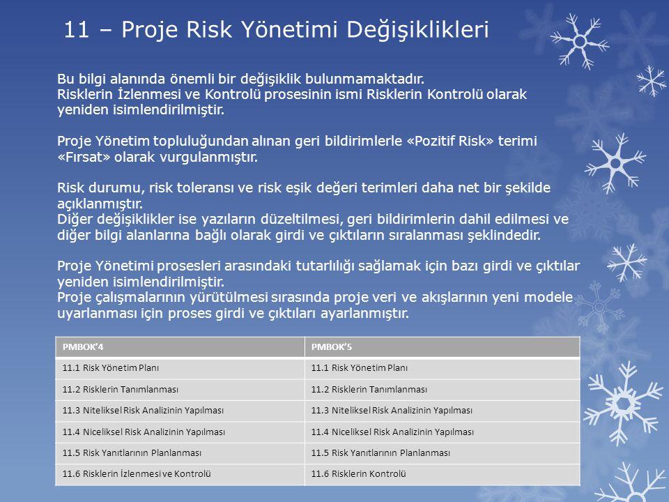 11 – Proje Risk Yönetimi Değişiklikleri