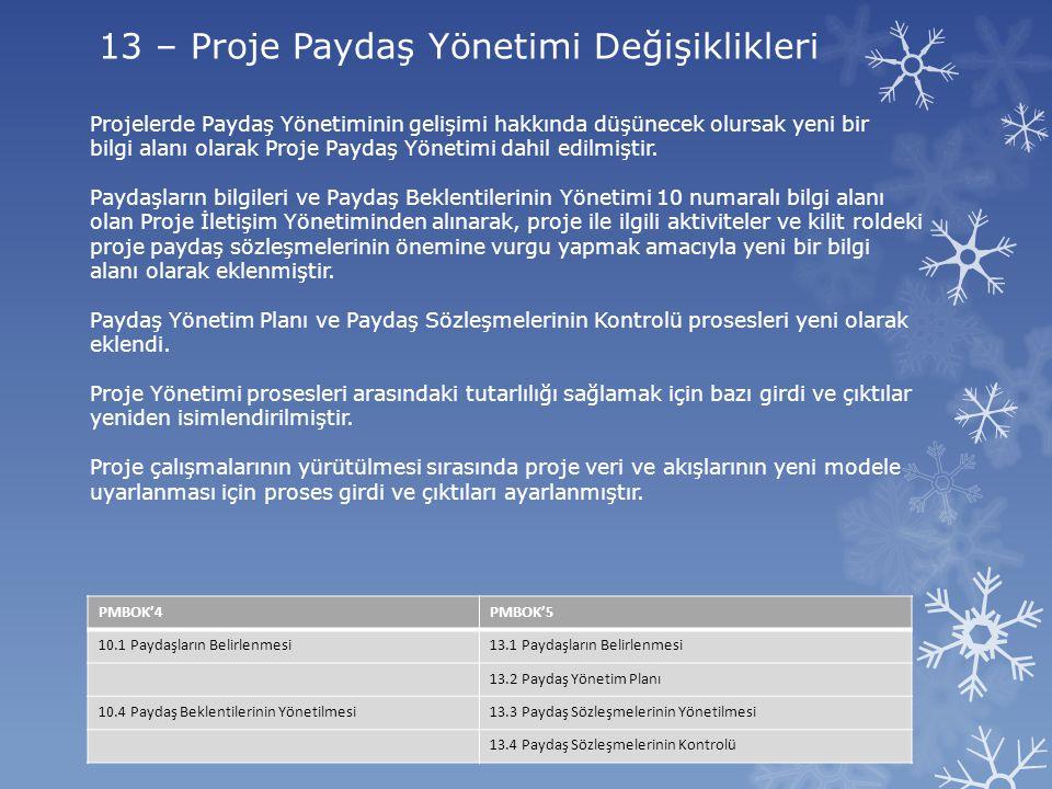 13 – Proje Paydaş Yönetimi Değişiklikleri