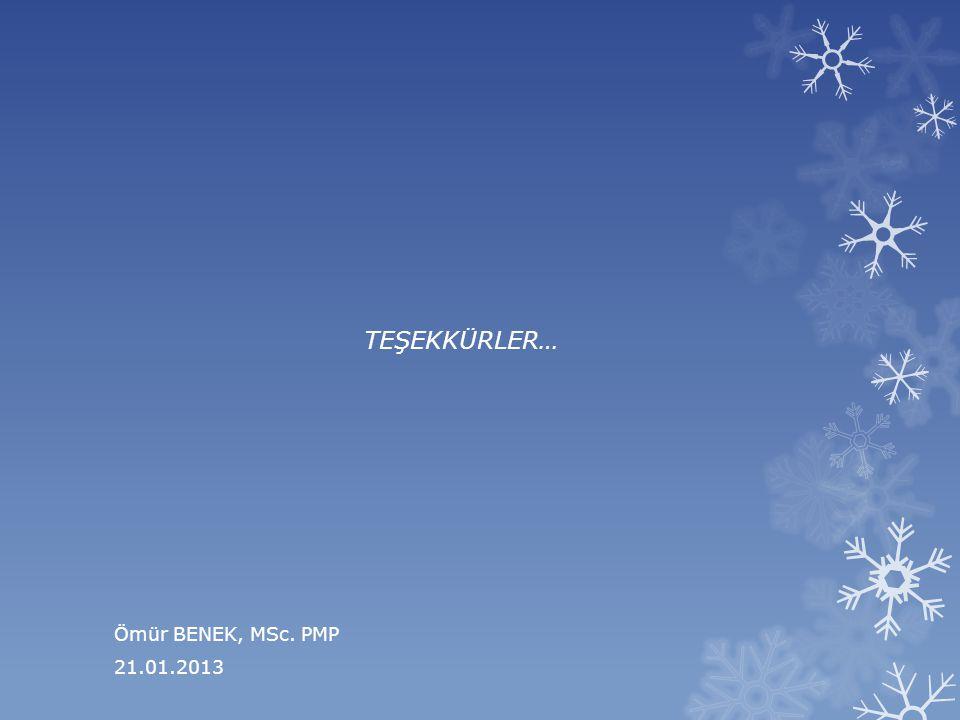 TEŞEKKÜRLER… Ömür BENEK, MSc. PMP 21.01.2013