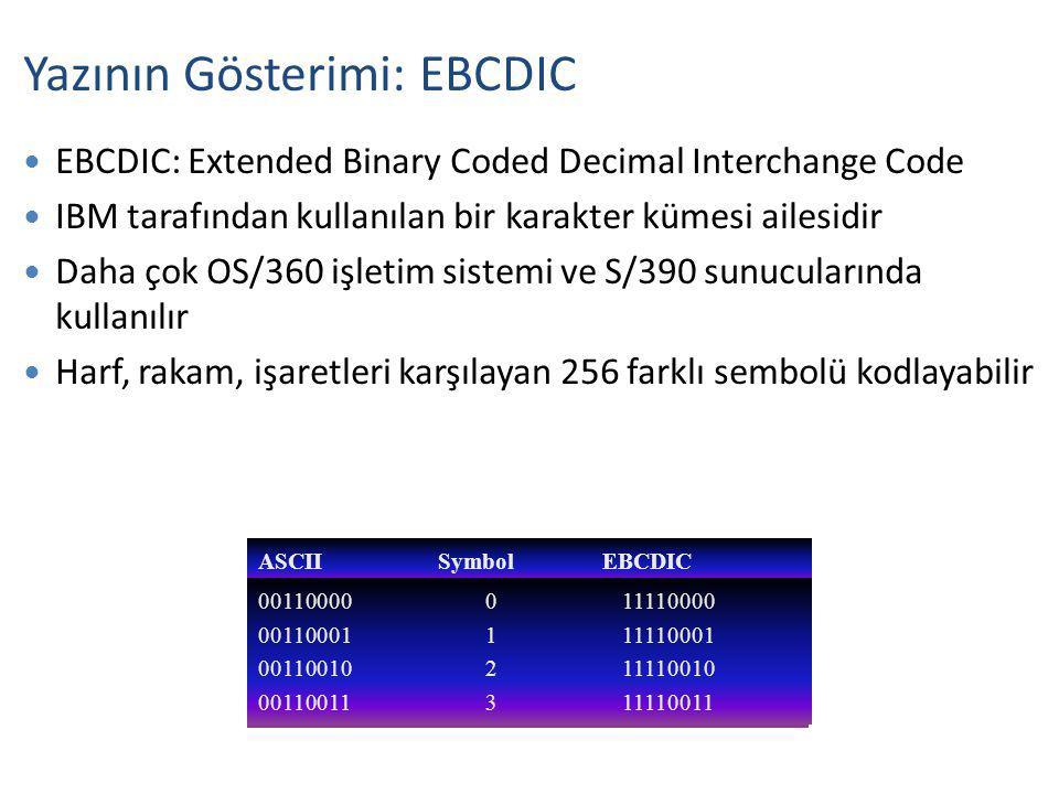 Yazının Gösterimi: EBCDIC