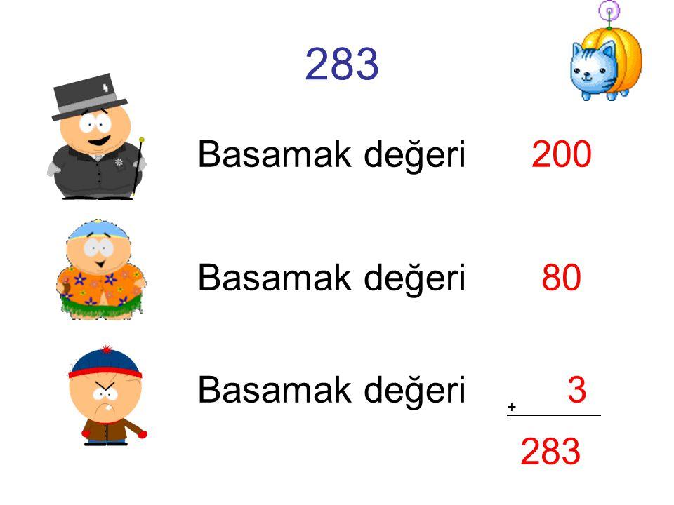 283 Basamak değeri 200 Basamak değeri 80 Basamak değeri 3 + . 283