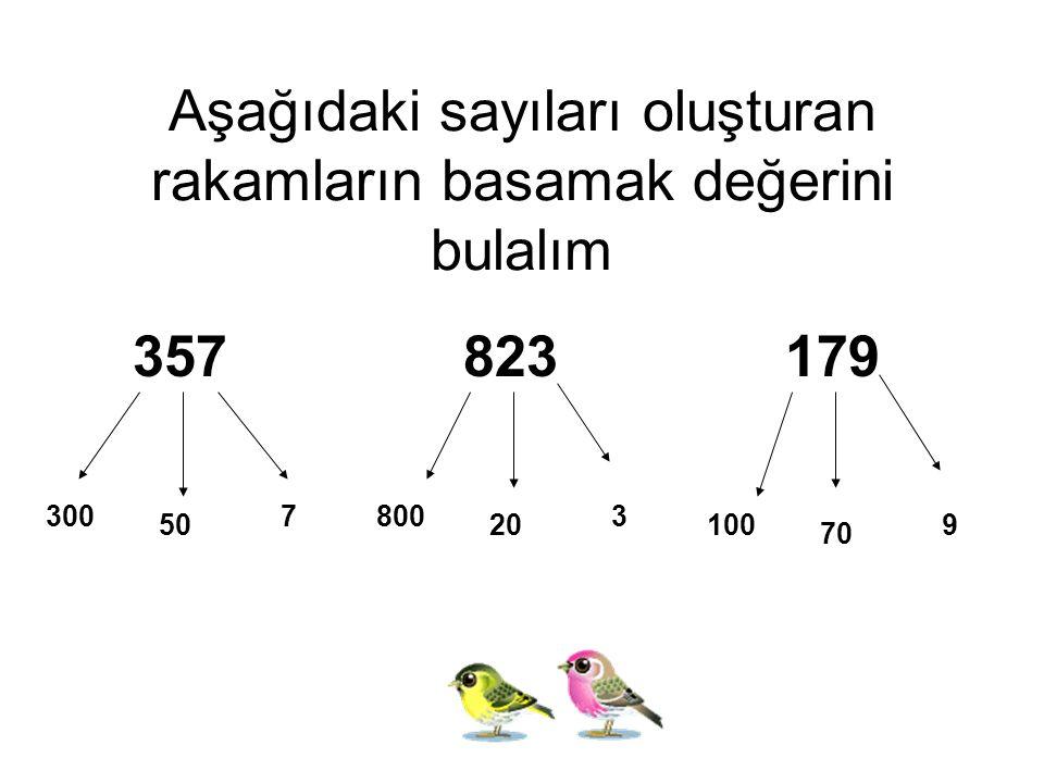 Aşağıdaki sayıları oluşturan rakamların basamak değerini bulalım