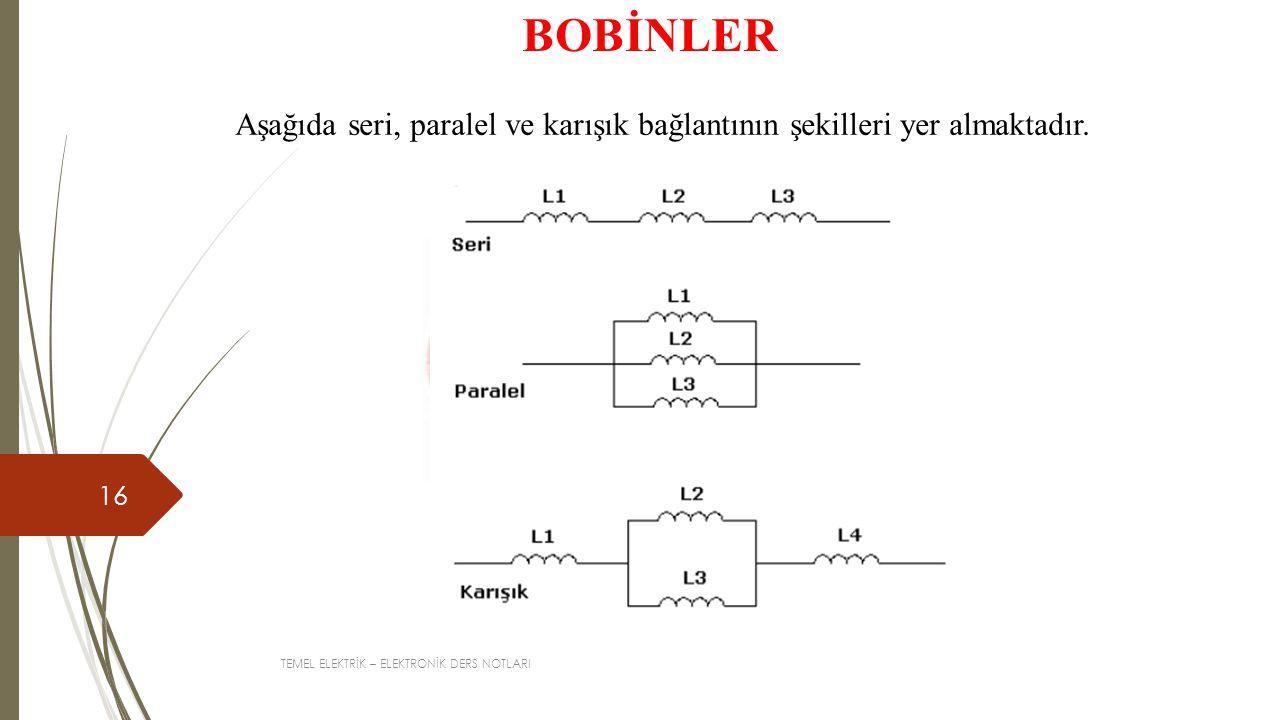 BOBİNLER Aşağıda seri, paralel ve karışık bağlantının şekilleri yer almaktadır.