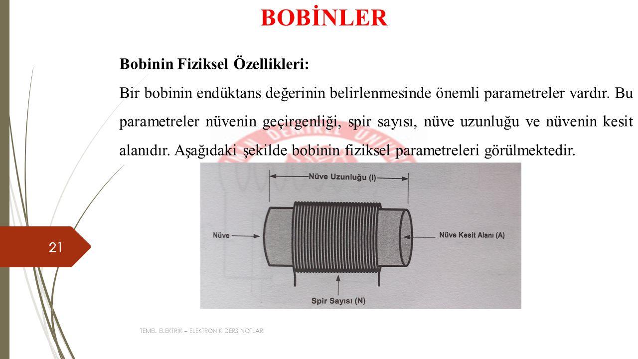 BOBİNLER Bobinin Fiziksel Özellikleri: