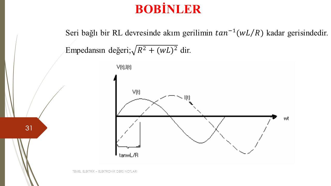 BOBİNLER Seri bağlı bir RL devresinde akım gerilimin 𝑡𝑎𝑛 −1 ( 𝑤𝐿 𝑅 ) kadar gerisindedir. Empedansın değeri; 𝑅 2 + (𝑤𝐿) 2 dir.
