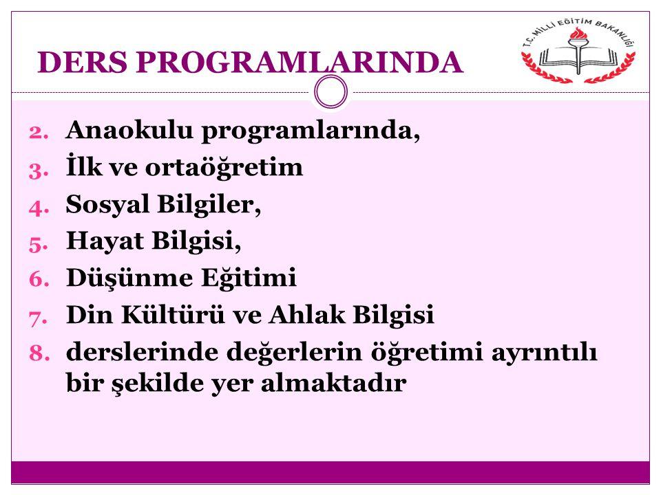 DERS PROGRAMLARINDA Anaokulu programlarında, İlk ve ortaöğretim