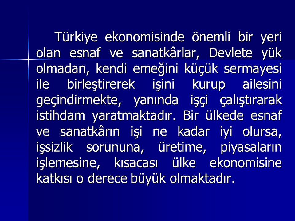 Türkiye ekonomisinde önemli bir yeri olan esnaf ve sanatkârlar, Devlete yük olmadan, kendi emeğini küçük sermayesi ile birleştirerek işini kurup ailesini geçindirmekte, yanında işçi çalıştırarak istihdam yaratmaktadır.