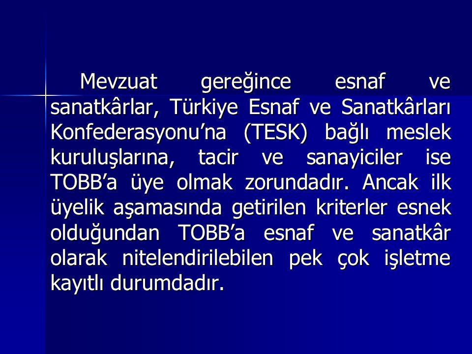 Mevzuat gereğince esnaf ve sanatkârlar, Türkiye Esnaf ve Sanatkârları Konfederasyonu'na (TESK) bağlı meslek kuruluşlarına, tacir ve sanayiciler ise TOBB'a üye olmak zorundadır.