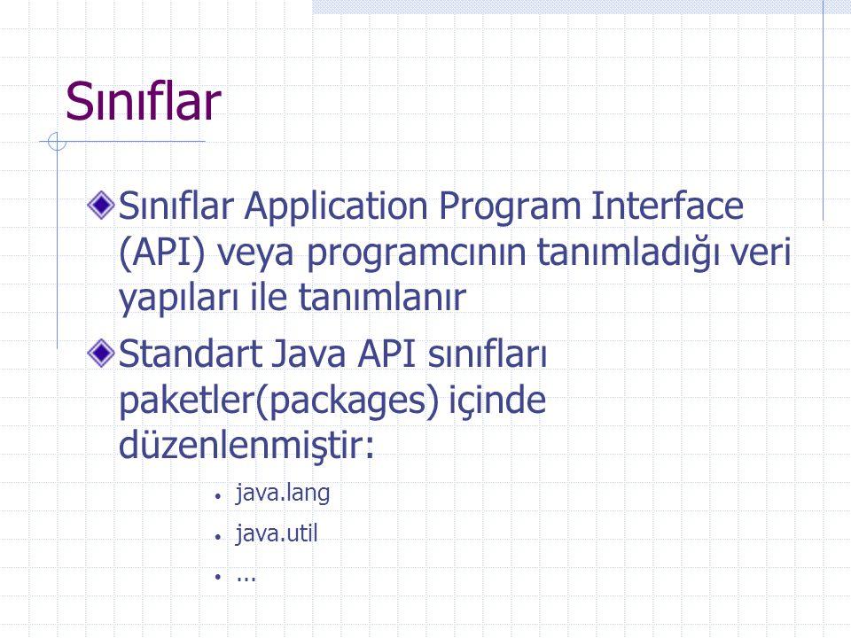 Sınıflar Sınıflar Application Program Interface (API) veya programcının tanımladığı veri yapıları ile tanımlanır.
