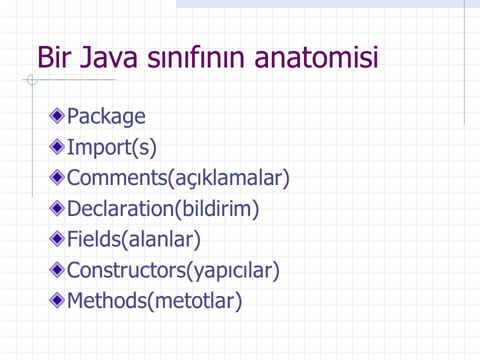 Bir Java sınıfının anatomisi