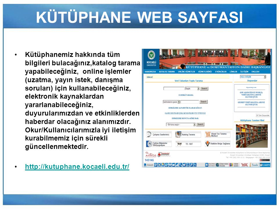 KÜTÜPHANE WEB SAYFASI