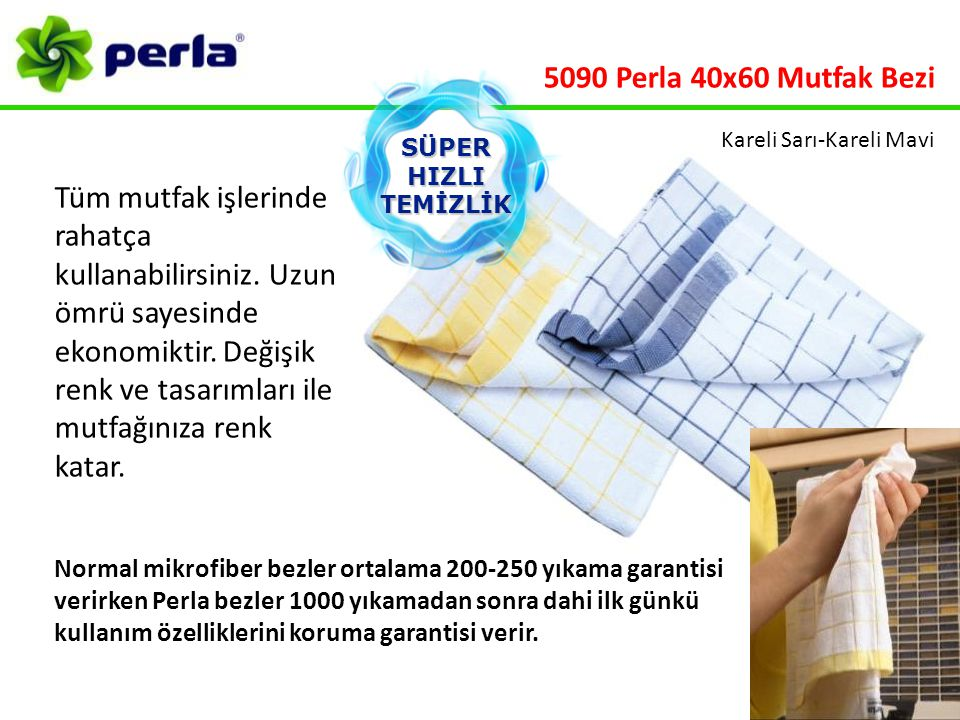 5090 Perla 40x60 Mutfak Bezi Kareli Sarı-Kareli Mavi. SÜPER. HIZLI. TEMİZLİK.