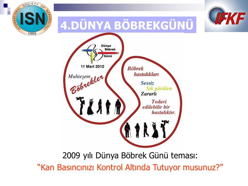 4.DÜNYA BÖBREKGÜNÜ 2009 yılı Dünya Böbrek Günü teması: