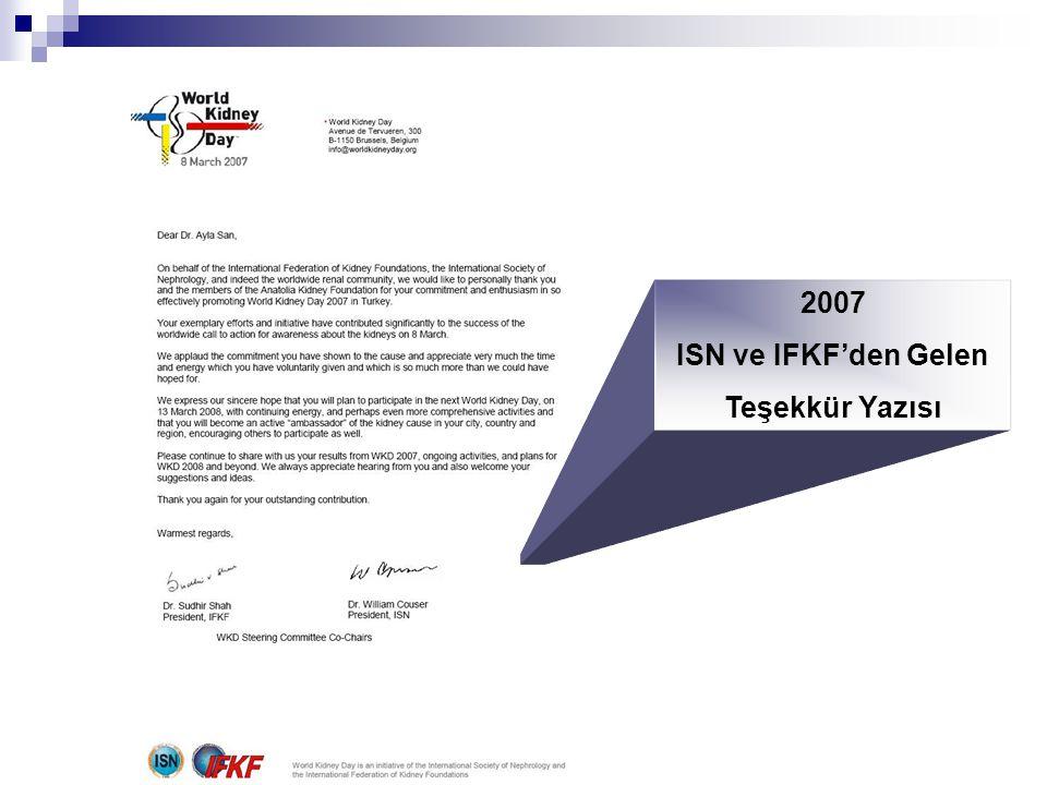 2007 ISN ve IFKF'den Gelen Teşekkür Yazısı