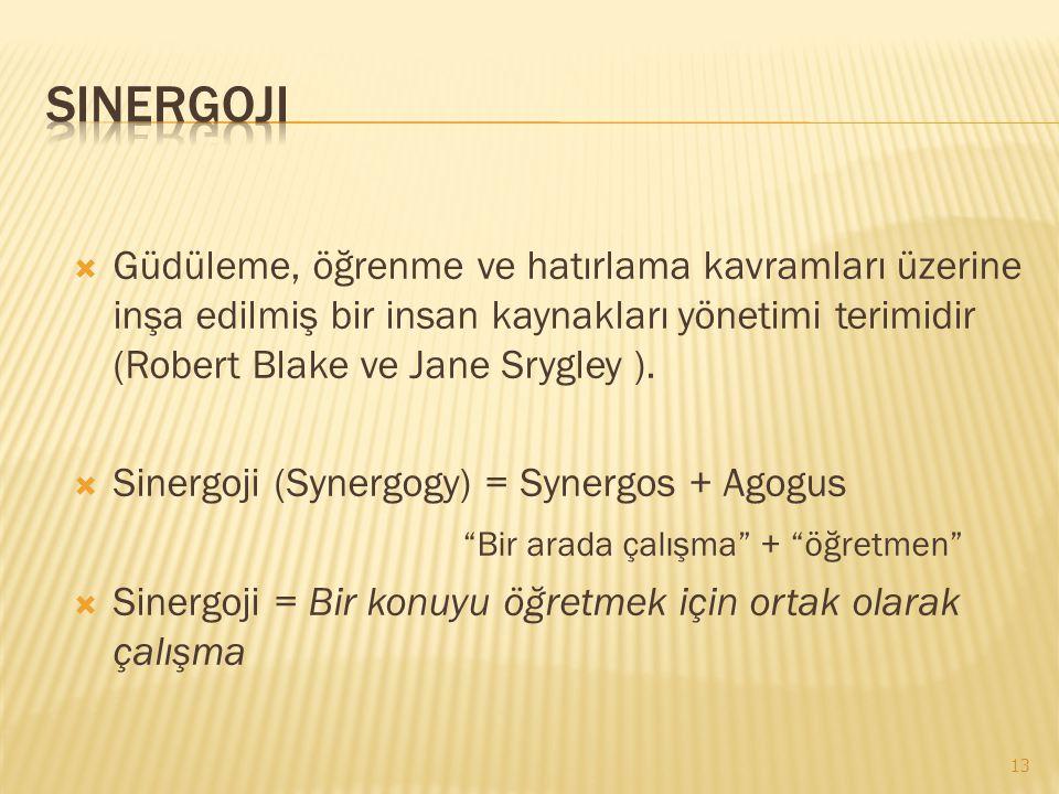 Sinergoji Güdüleme, öğrenme ve hatırlama kavramları üzerine inşa edilmiş bir insan kaynakları yönetimi terimidir (Robert Blake ve Jane Srygley ).