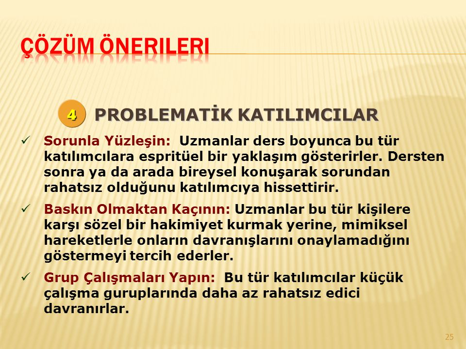 Çözüm Önerileri 4 PROBLEMATİK KATILIMCILAR