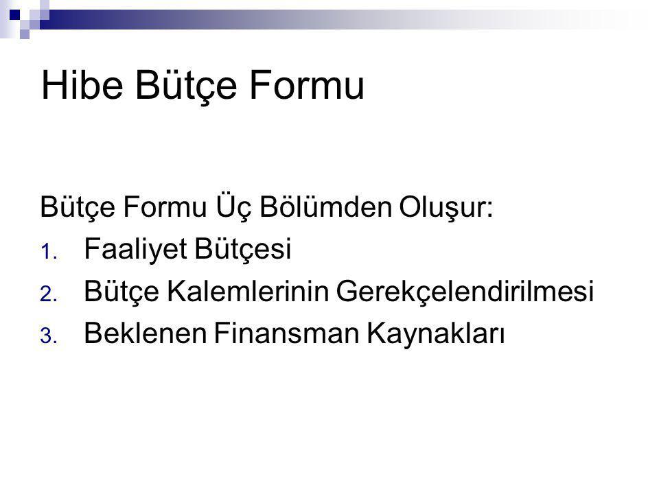 Hibe Bütçe Formu Bütçe Formu Üç Bölümden Oluşur: Faaliyet Bütçesi