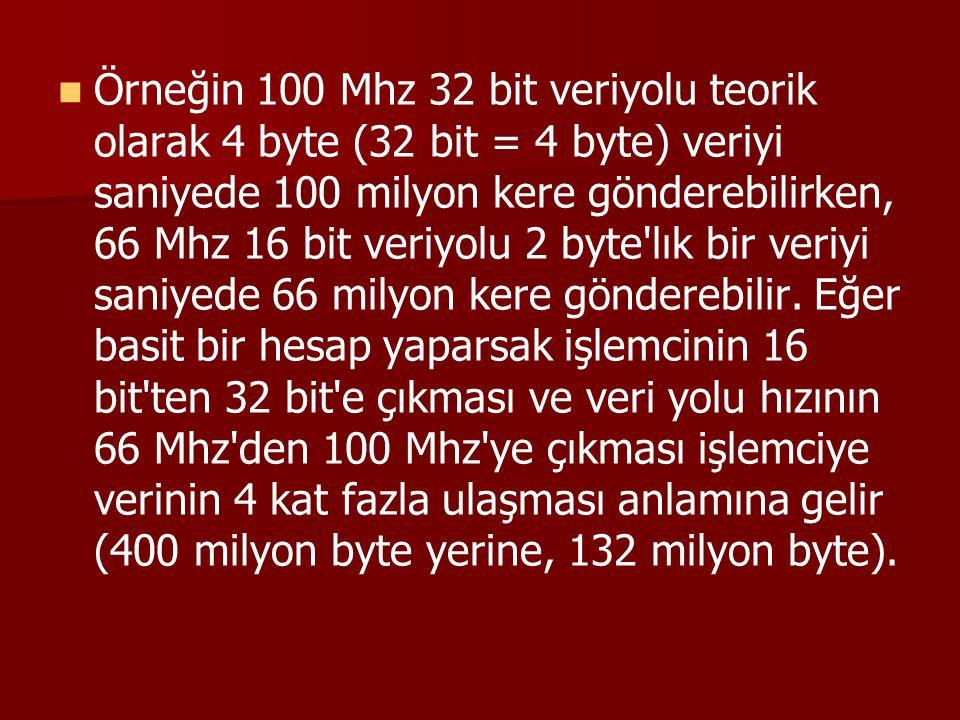 Örneğin 100 Mhz 32 bit veriyolu teorik olarak 4 byte (32 bit = 4 byte) veriyi saniyede 100 milyon kere gönderebilirken, 66 Mhz 16 bit veriyolu 2 byte lık bir veriyi saniyede 66 milyon kere gönderebilir.