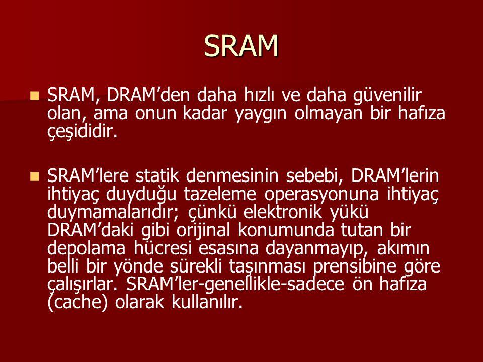 SRAM SRAM, DRAM'den daha hızlı ve daha güvenilir olan, ama onun kadar yaygın olmayan bir hafıza çeşididir.