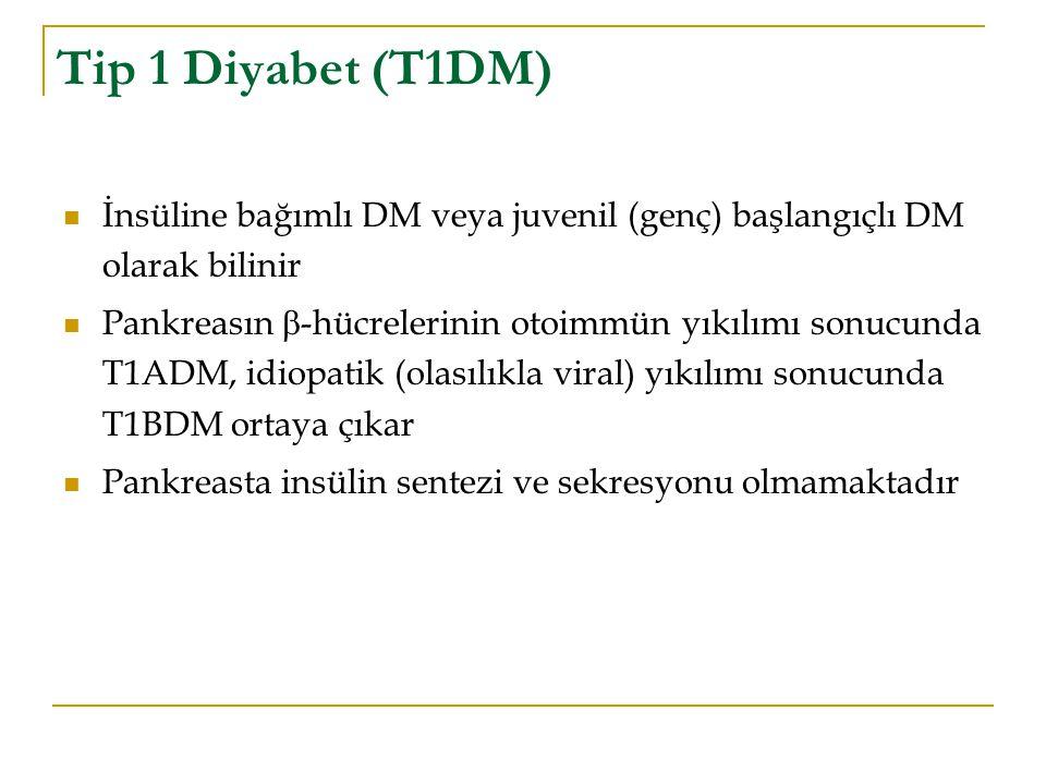 Tip 1 Diyabet (T1DM) İnsüline bağımlı DM veya juvenil (genç) başlangıçlı DM olarak bilinir.