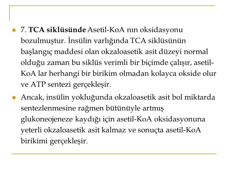 7. TCA siklüsünde Asetil-KoA nın oksidasyonu bozulmuştur
