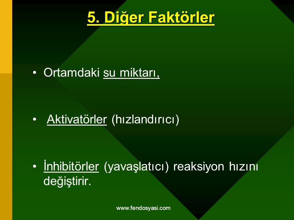 5. Diğer Faktörler Ortamdaki su miktarı, Aktivatörler (hızlandırıcı)