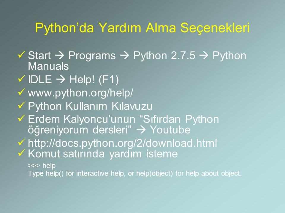 Python'da Yardım Alma Seçenekleri