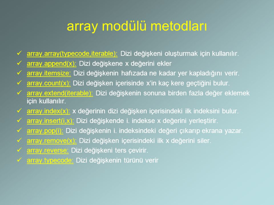 array modülü metodları