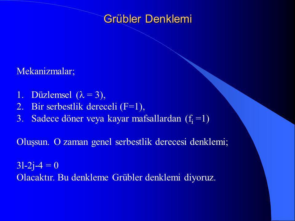 Grübler Denklemi Mekanizmalar; Düzlemsel (l = 3),