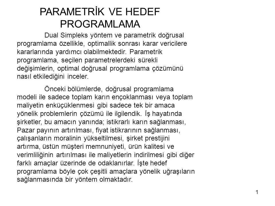 PARAMETRİK VE HEDEF PROGRAMLAMA