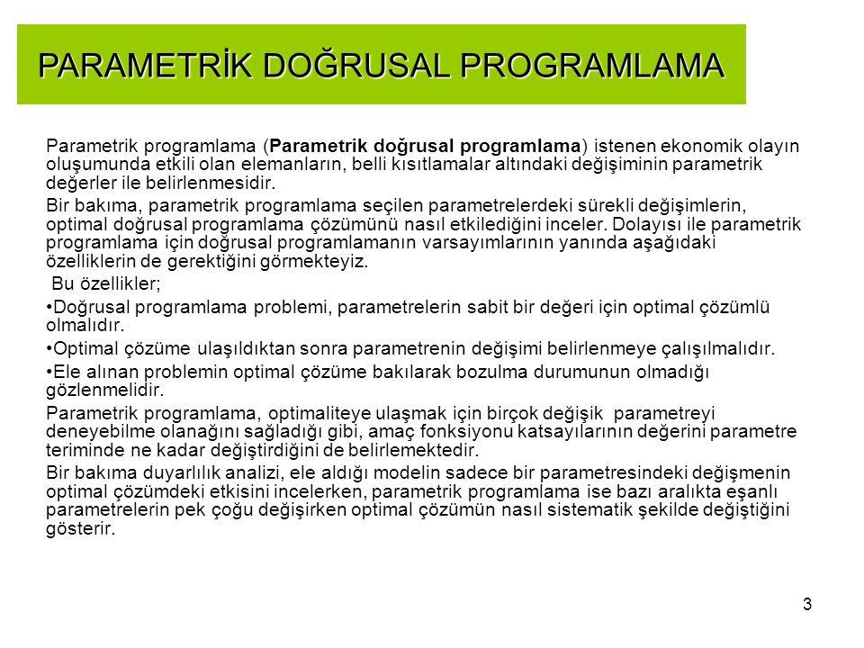 PARAMETRİK DOĞRUSAL PROGRAMLAMA