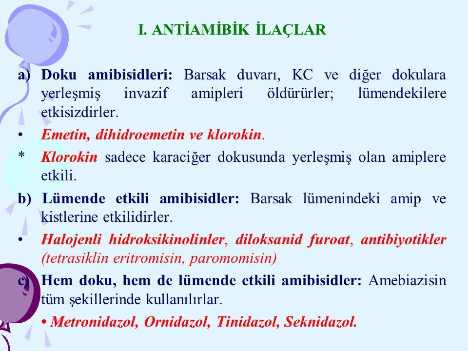 I. ANTİAMİBİK İLAÇLAR a) Doku amibisidleri: Barsak duvarı, KC ve diğer dokulara yerleşmiş invazif amipleri öldürürler; lümendekilere etkisizdirler.