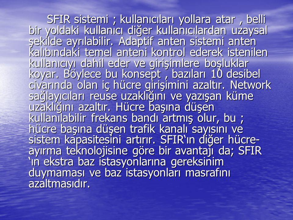 SFIR sistemi ; kullanıcıları yollara atar , belli bir yoldaki kullanıcı diğer kullanıcılardan uzaysal şekilde ayrılabilir.