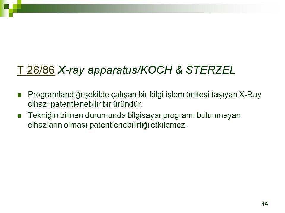 T 26/86 X-ray apparatus/KOCH & STERZEL