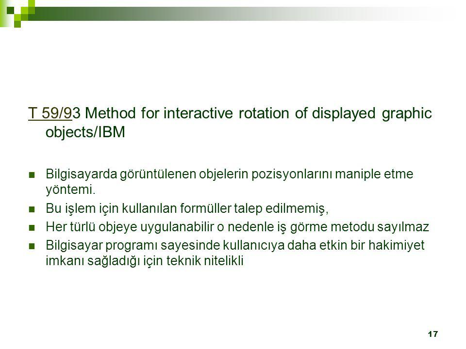 T 59/93 Method for interactive rotation of displayed graphic objects/IBM