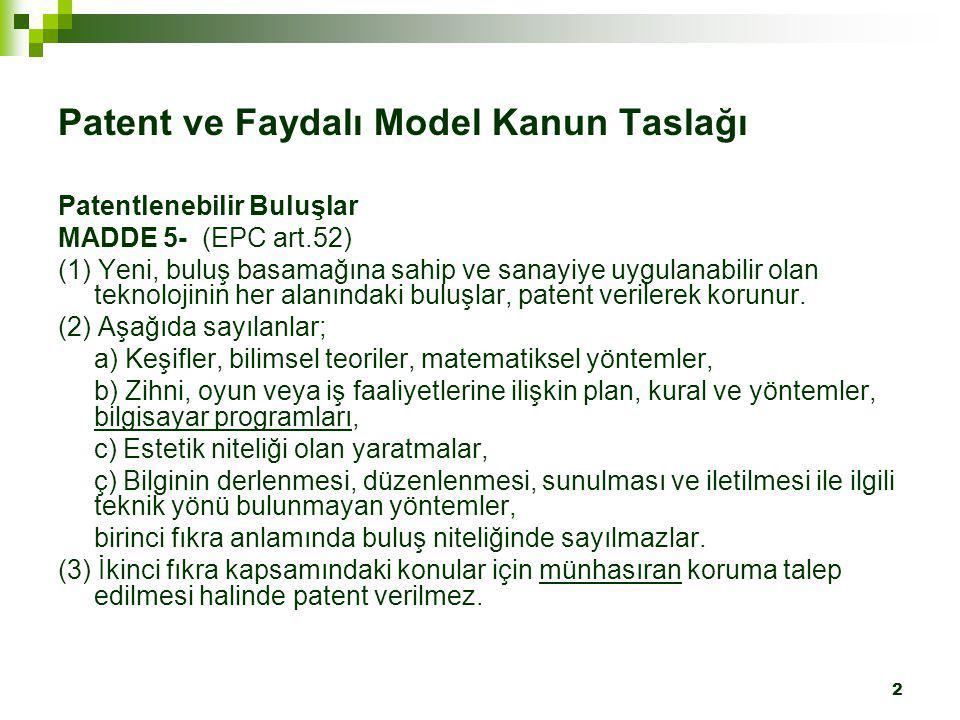 Patent ve Faydalı Model Kanun Taslağı