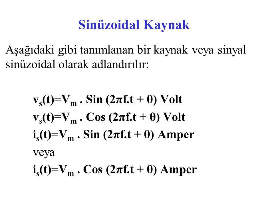 Sinüzoidal Kaynak Aşağıdaki gibi tanımlanan bir kaynak veya sinyal sinüzoidal olarak adlandırılır: vs(t)=Vm . Sin (2πf.t + θ) Volt.