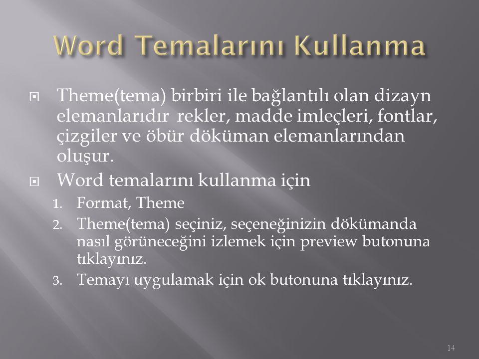 Word Temalarını Kullanma