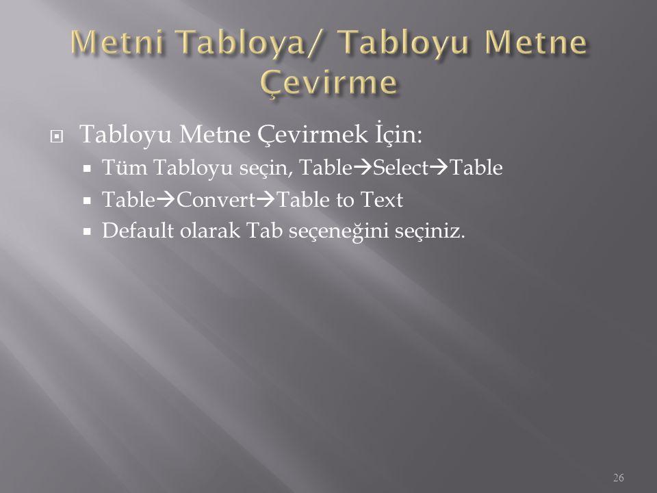 Metni Tabloya/ Tabloyu Metne Çevirme