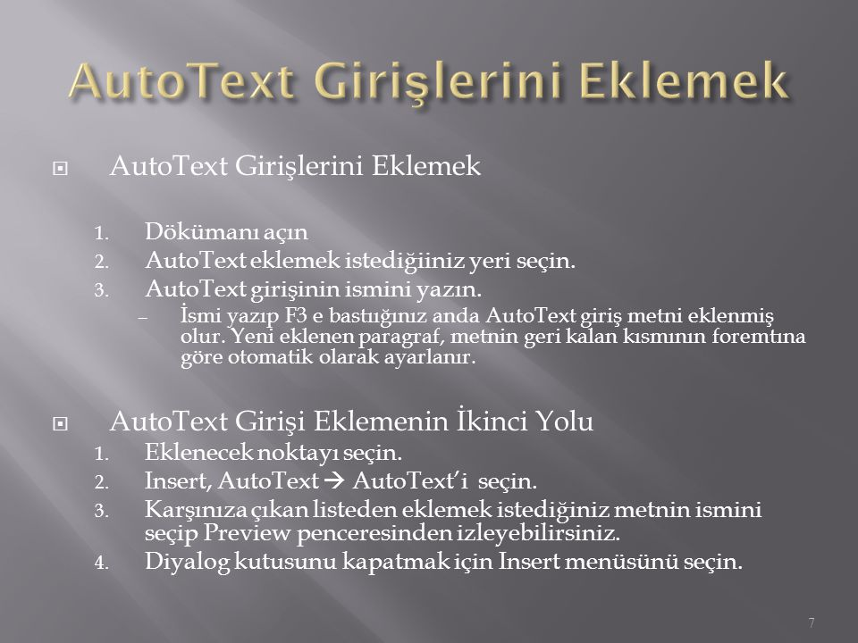 AutoText Girişlerini Eklemek