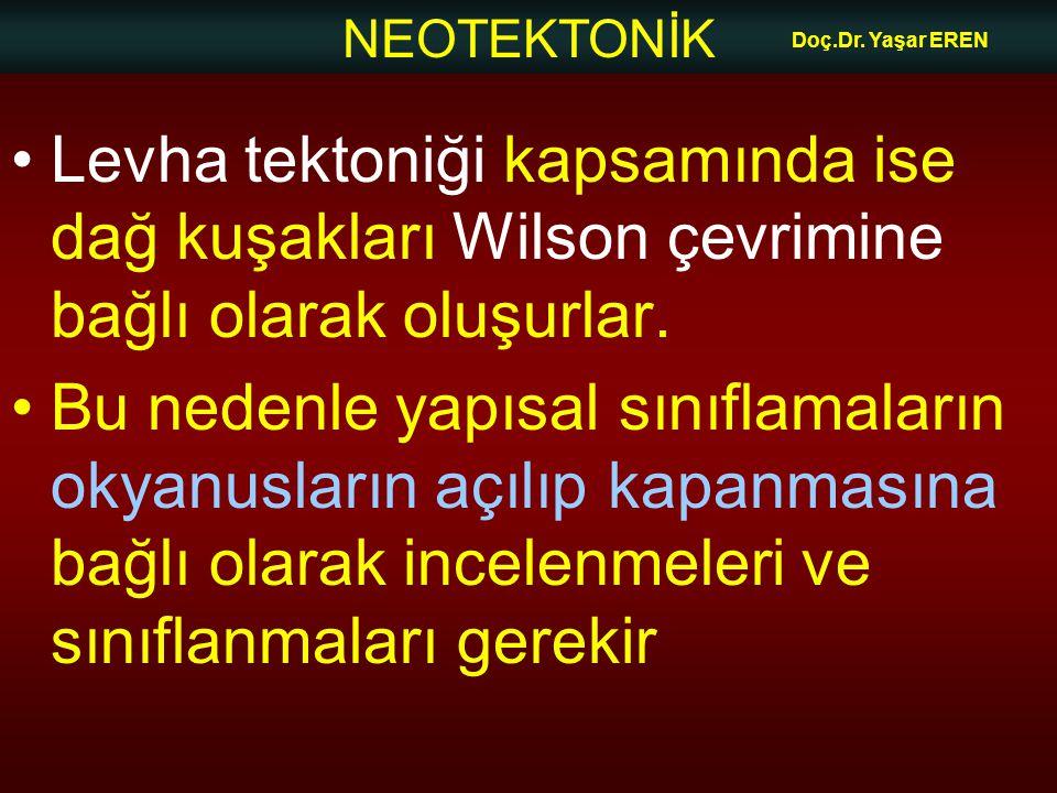 Doç.Dr. Yaşar EREN Levha tektoniği kapsamında ise dağ kuşakları Wilson çevrimine bağlı olarak oluşurlar.