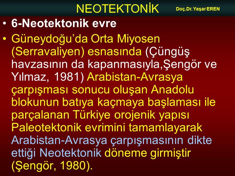 Doç.Dr. Yaşar EREN 6-Neotektonik evre.