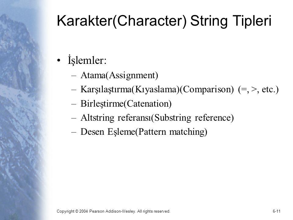 Karakter(Character) String Tipleri