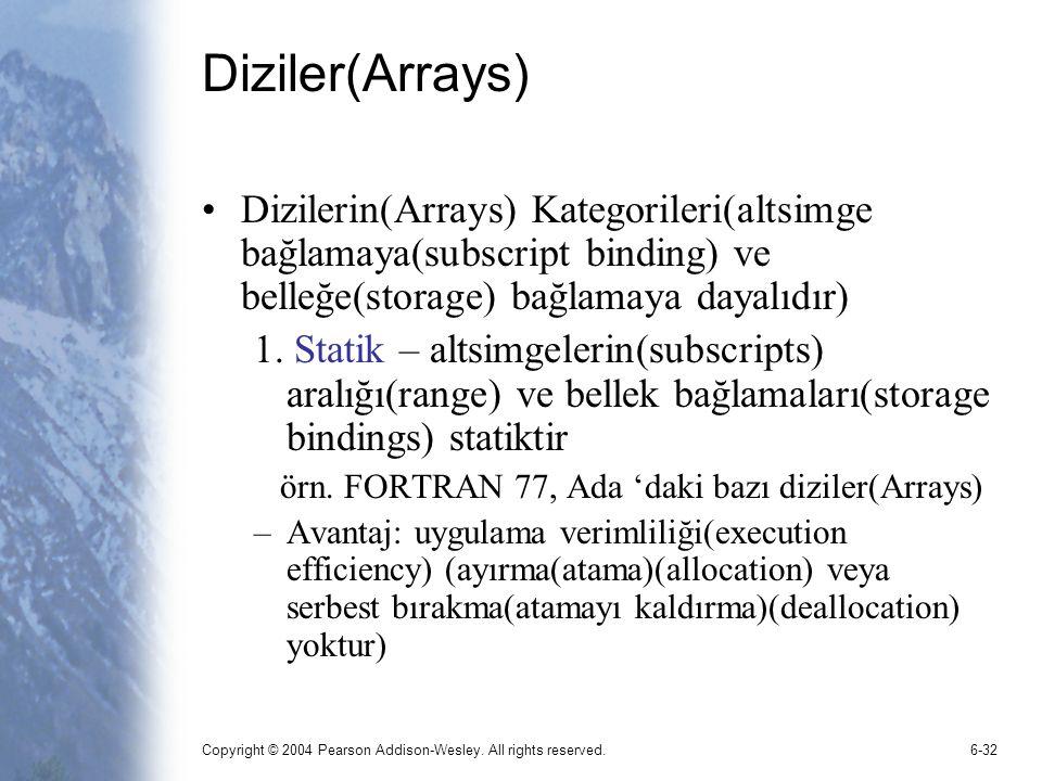 Diziler(Arrays) Dizilerin(Arrays) Kategorileri(altsimge bağlamaya(subscript binding) ve belleğe(storage) bağlamaya dayalıdır)