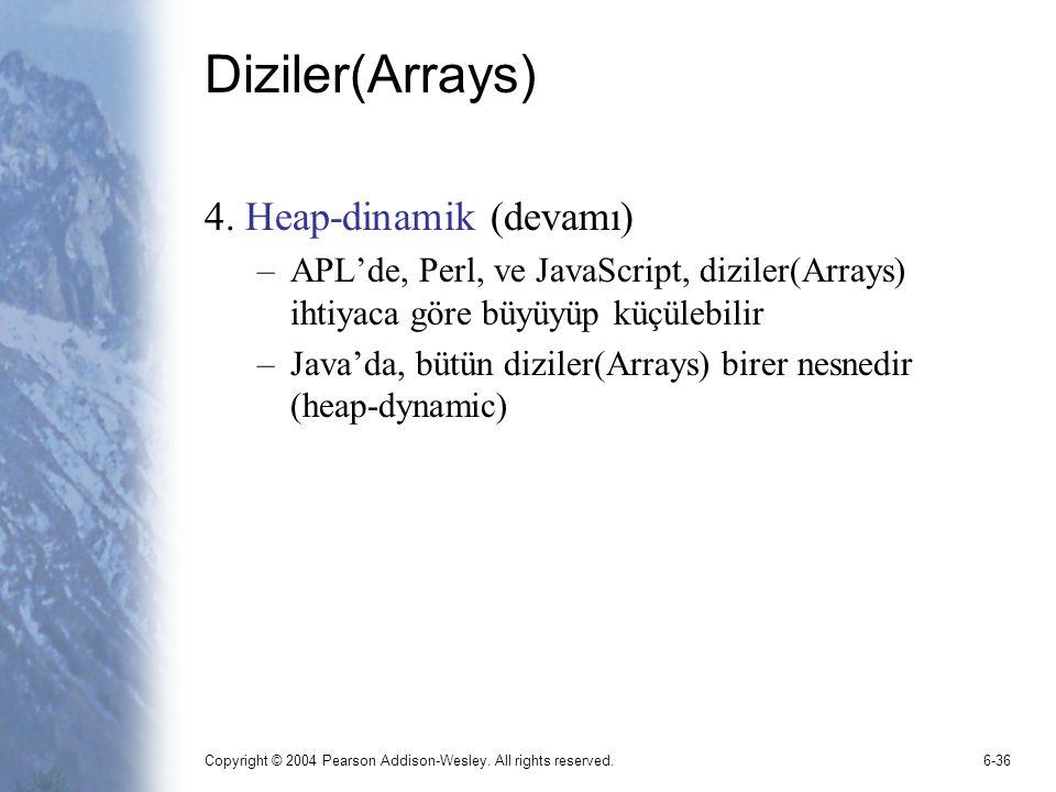 Diziler(Arrays) 4. Heap-dinamik (devamı)