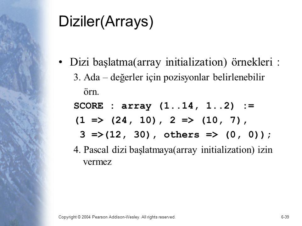 Diziler(Arrays) Dizi başlatma(array initialization) örnekleri :