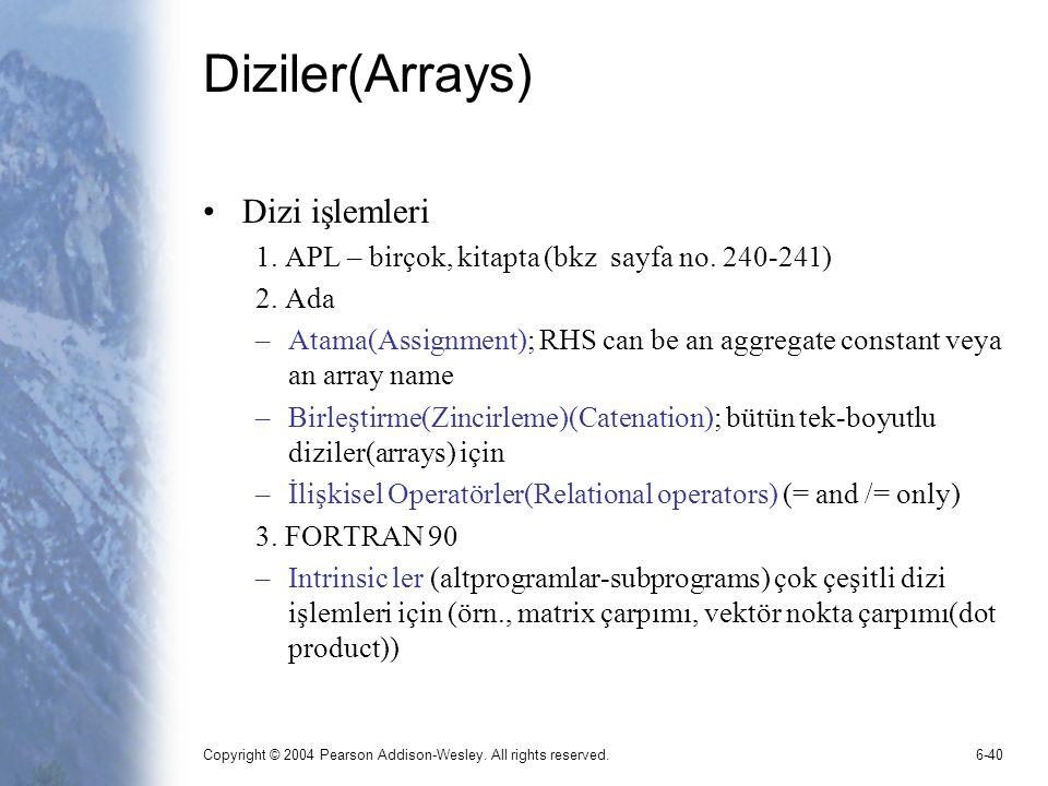 Diziler(Arrays) Dizi işlemleri